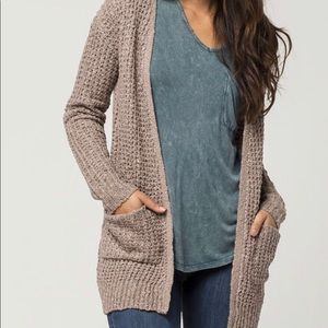 Taupe colored knit cardigan